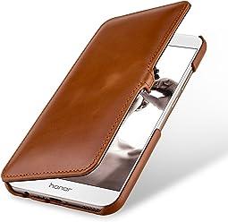 StilGut Book Type avec Clip, Housse en Cuir pour Huawei Honor 8 Pro. Etui de Protection à Ouverture latérale avec Fermeture clipsée, Cognac