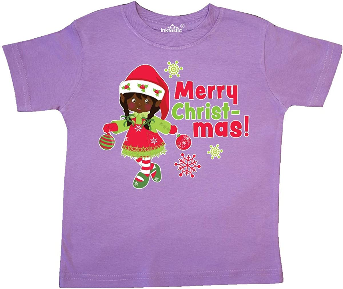 inktastic Merry Christmas Elf with Dark Brown Hair and Toddler T-Shirt