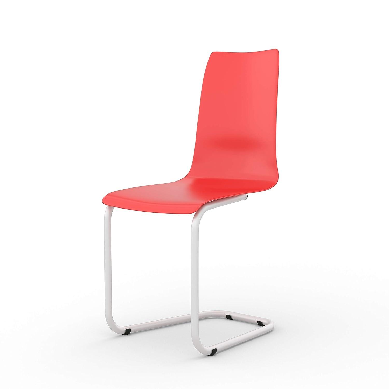 Tojo Stuhl - Freischwinger Stühle mit austauschbarer austauschbarer austauschbarer Sitzschale - Farbe Rot - Filigraner Schwingstuhl für Küche, Arbeitszimmer, Büro - Moderne Konferenzstühle, Schreibtischstühle 68c243
