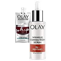 Olay Collagen Peptides Wrinkle Correction Serum, 1.3 Fl Oz + Whip Face Moisturizer...