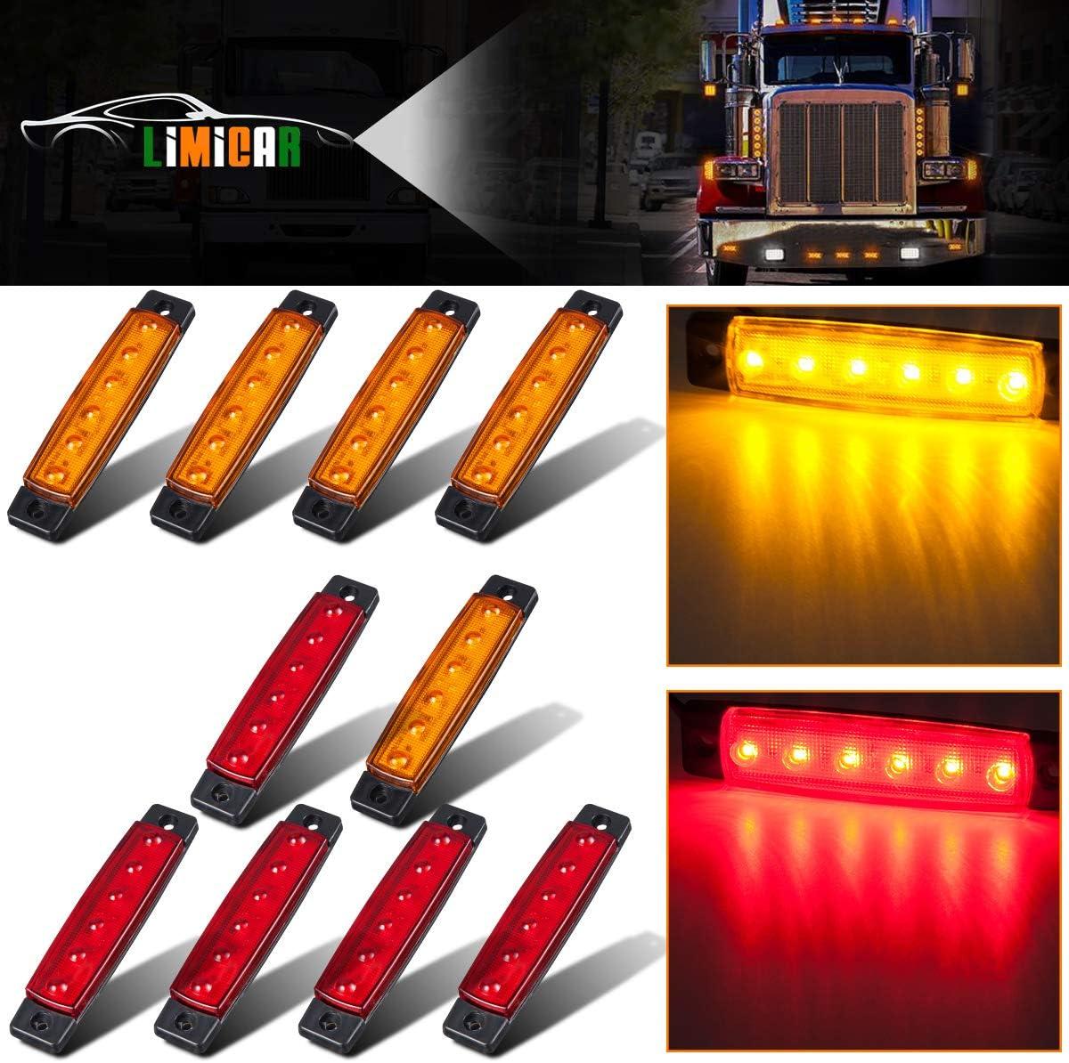 10X 6LED Amber Front Side Marker Light Indicator Lamp Car Truck Trailer Orange