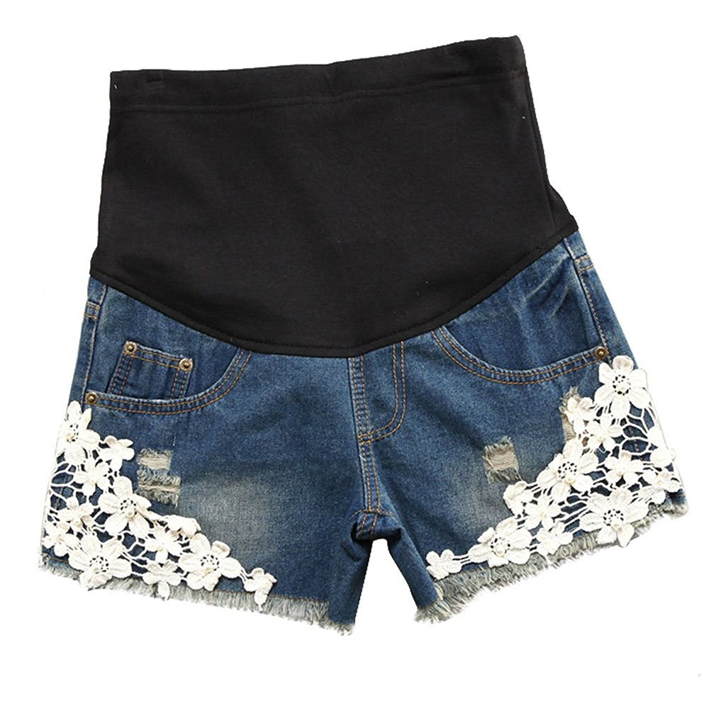 2018 Summer New Maternity Jeans Shorts, ajustables Pretina Wandband Belly Jeans Shorts Ajuste de encaje