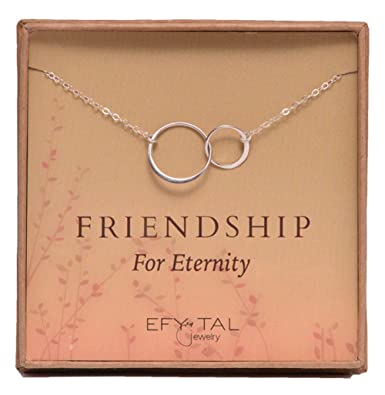 Amazon sterling silver friendship for eternity necklace two sterling silver friendship for eternity necklace two interlocking infinity circles gift for best friend mozeypictures Image collections