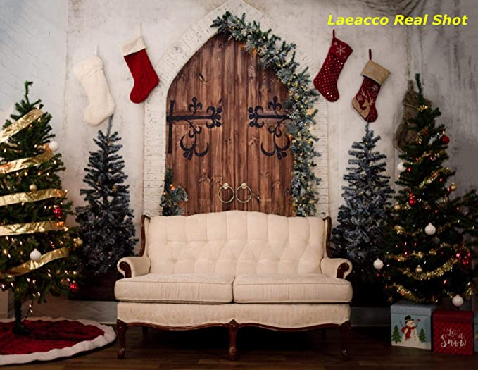 Laeacco Christmas Vintage Plank Backdrop 7x5ft Vinyl Indoor Xmas Tree Light Snow Shabby Wooden Wall Floor Photography Background Xmas Party Decoration Banner Child Kids Baby Adult Portrait Shoot