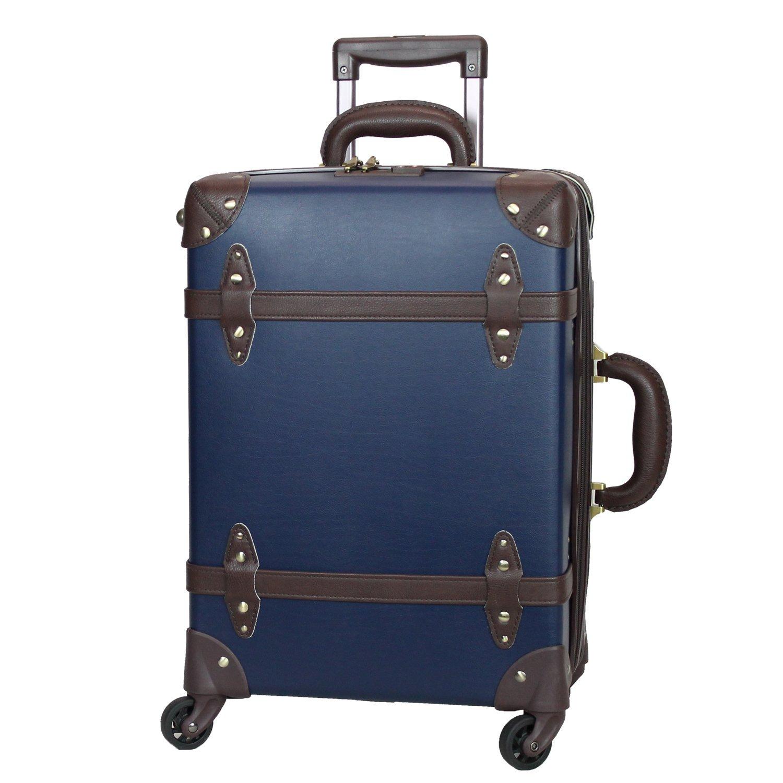 MOIERG(モアエルグ) 軽量 キャリーバッグ 容量UP YKK使用 キャリーケース スーツケース 3年保証 B0799GHYQ4 S|ネイビー/ブラウン ネイビー/ブラウン S