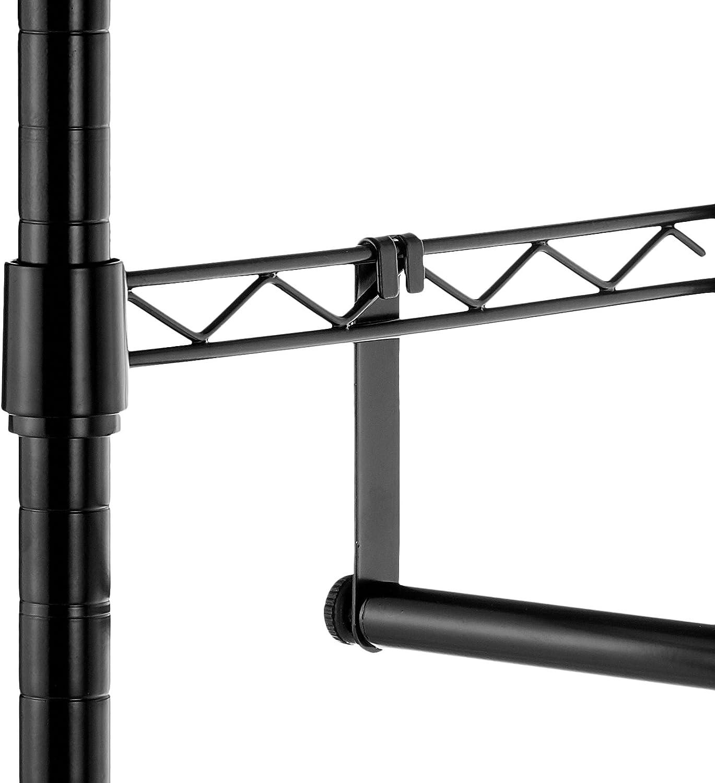 Basics Negro Perchero de ropa de doble barra con ruedas
