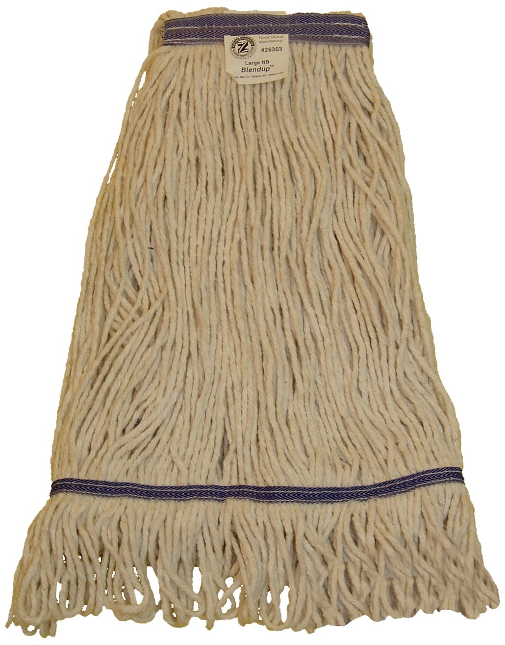 Zephyr 26303 Blendup 4-ply Blended Natural and Synthetic Fibers Large Loop Mop Head with 1-1/4'' Narrow Headbands (Pack of 12)