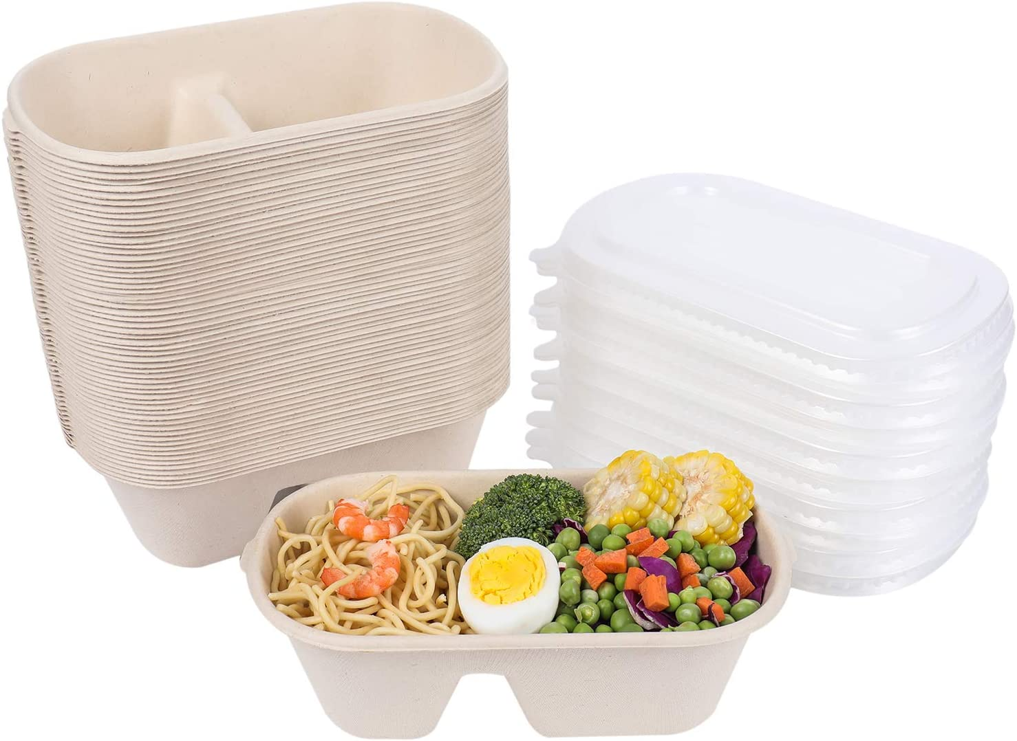 JAYEEY 23OZ Disposable bowls WITH PP LIDS, 2 compartment Compostable Fiber Food Container, Food Storage, Biodegradable Bagasse Microwave Safe 50 PACK