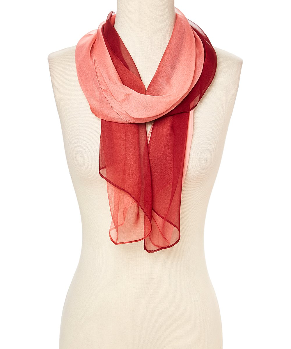 Women Candy Colors Long Soft Summer Silk Ombre Lightweight Accent Scarf Wrap (Red Ombre Summer Scarves)