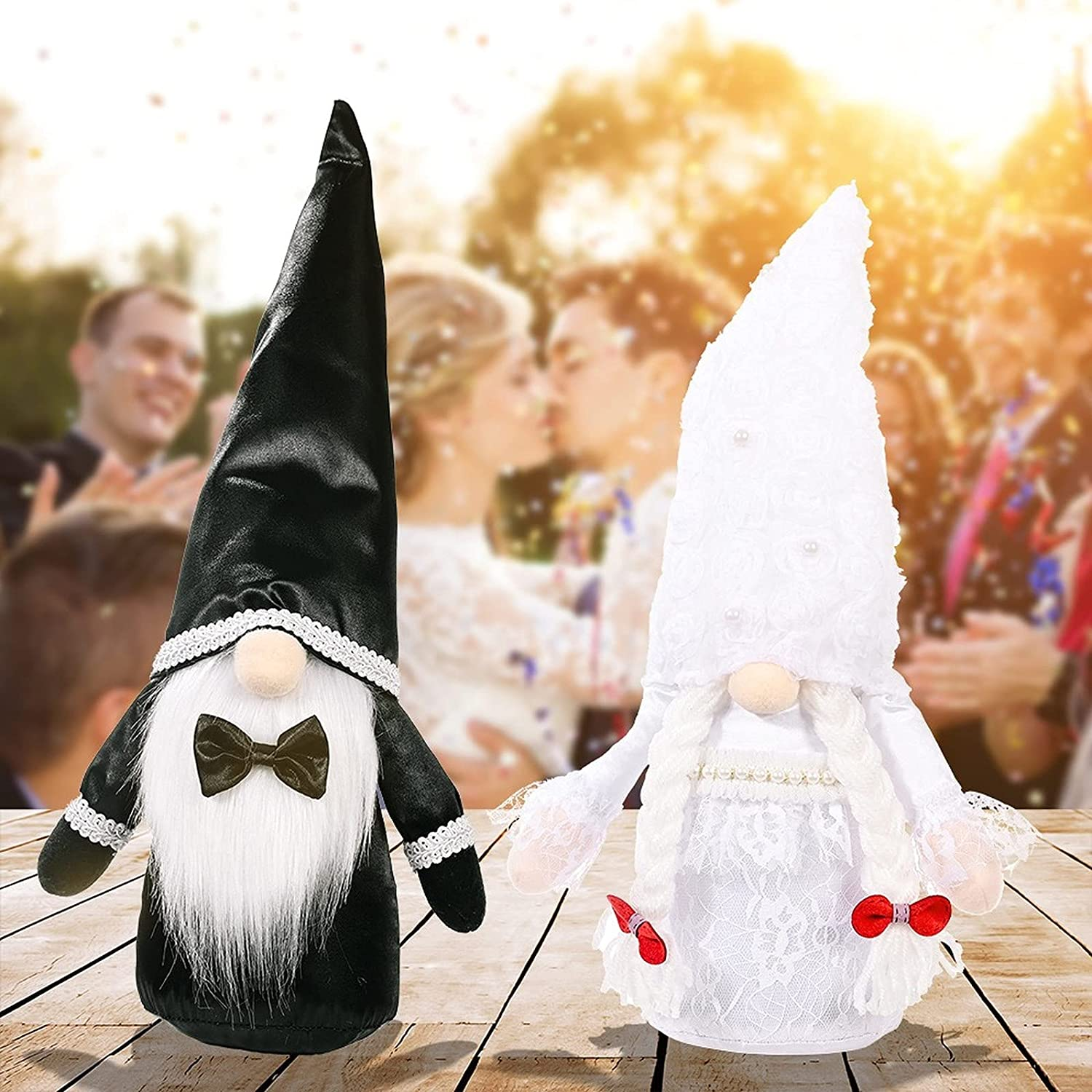 2pcs Wedding Gnome Bride Dress Groom Suits Decoration Plush Faceless Collectible Doll Gift Figurine Engagement Valentine's Day Mascot Souvenir Home Party Kitchen Tiered Tray Elf Tomte Swedish Dwarf