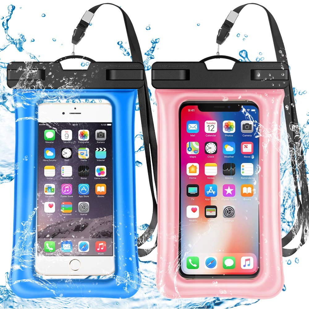 2 Pack Waterproof Phone Pouch Floating IPX8 Universal Waterproof Phone Case Underwater Dry Bag for Cell Phone Summer Water Sports and Dive Compatible iPhone Xs Max/Xr/X/8/7/6s/6 Plus Galaxy s10 6.5'' by Alemozala
