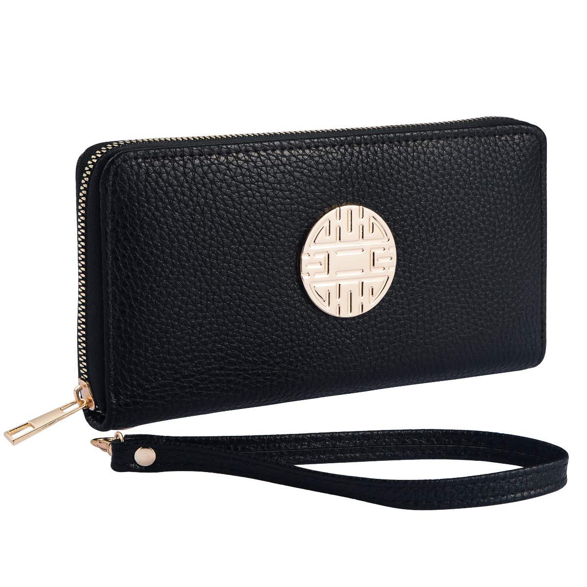 Heaye Emblem Wristlet Wallet for Women with Wrist Strap Zip Around