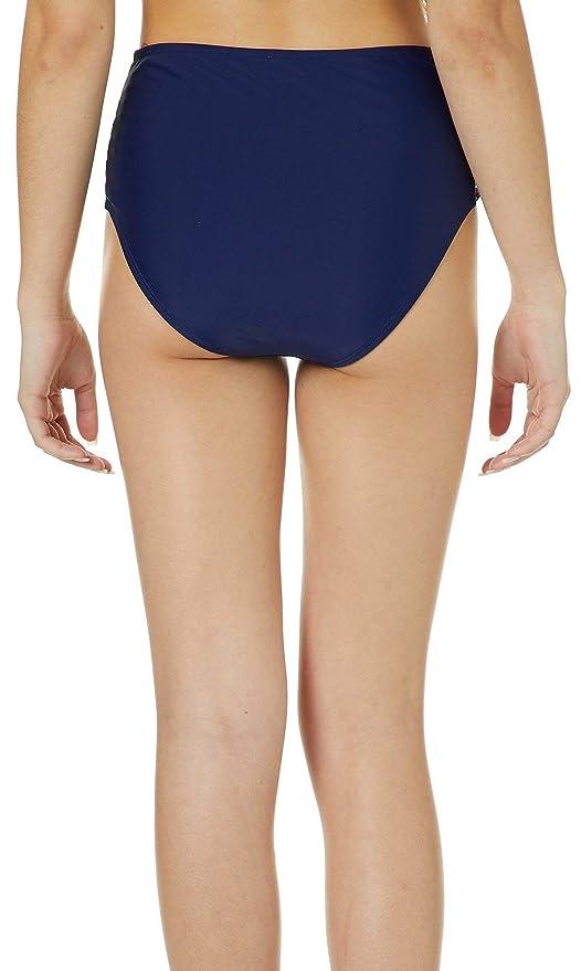 Island Soul Juniors Solid Macrame High Waist Swim Bottoms Medium Navy Blue