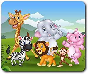 Comfortable Mouse Mat - Cartoon Zoo Animals Lion Monkey Kids 23.5 x 19.6 cm (9.3 x 7.7 inches) for Computer & Laptop, Office, Gift, Non-Slip Base - RM16888