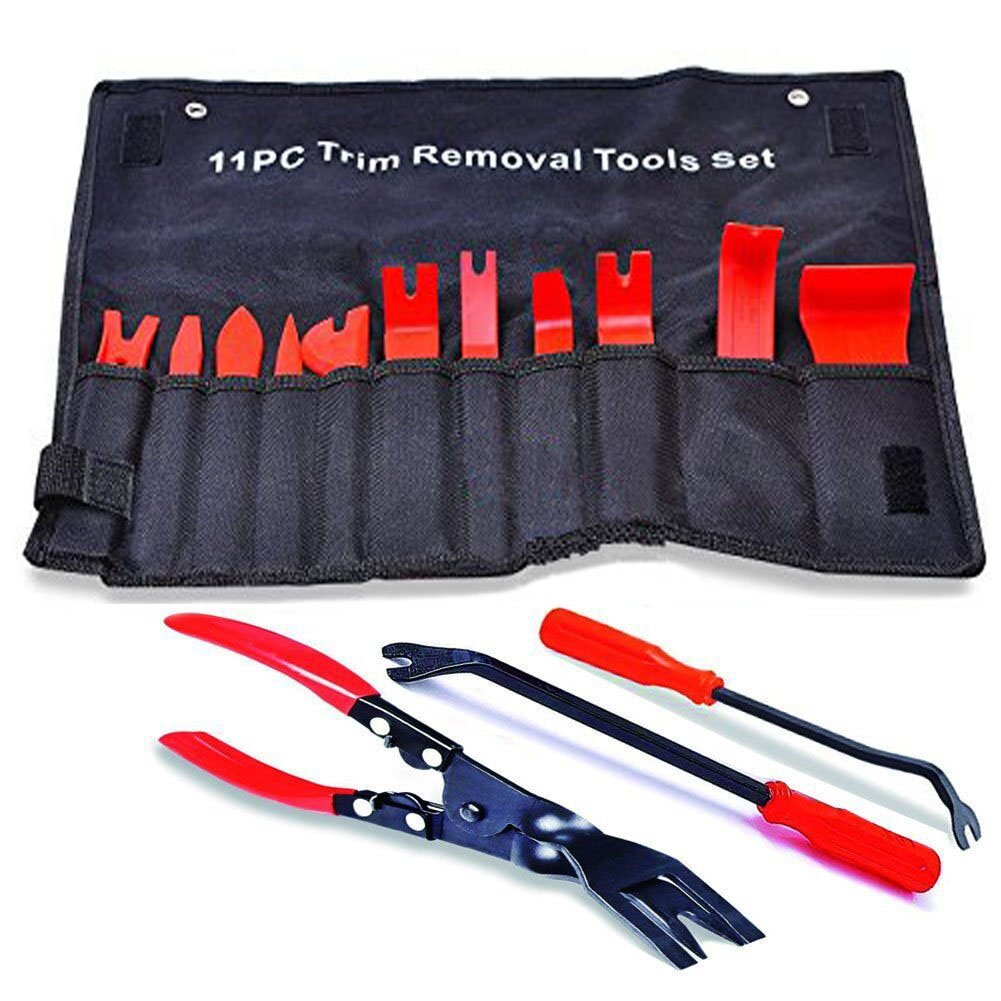 14 Pcs Auto Upholstery Tools,Strong Nylon Door Molding Dash Panel Trim Tool Kit & Clip Pliers & 2 Pcs Fastener Remover