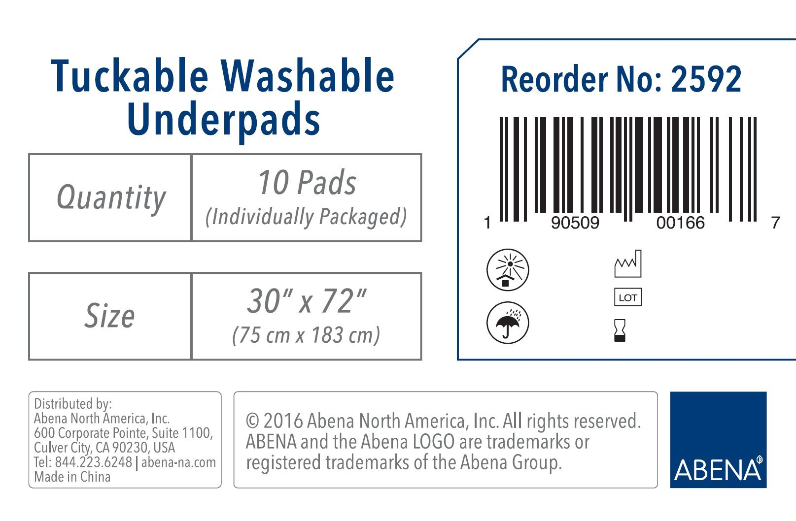 Abena Essentials Tuckable Washable Underpads, 30'' x 72'', 10 count