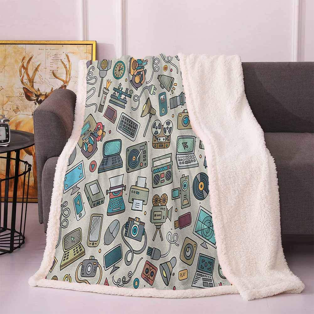 Doodle Cozy Blanket Complation of Various Office Gadgets Recorder Tv Laptop Monitor Tablet Switch Mouse Faux Fur Multicolor 50x60