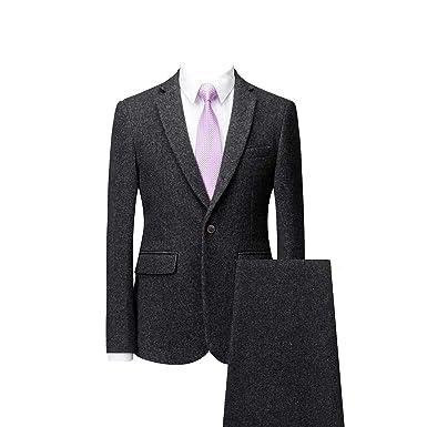 MOGU Hombre Tweed Calentar Clásico Casual Traje Chaqueta ...