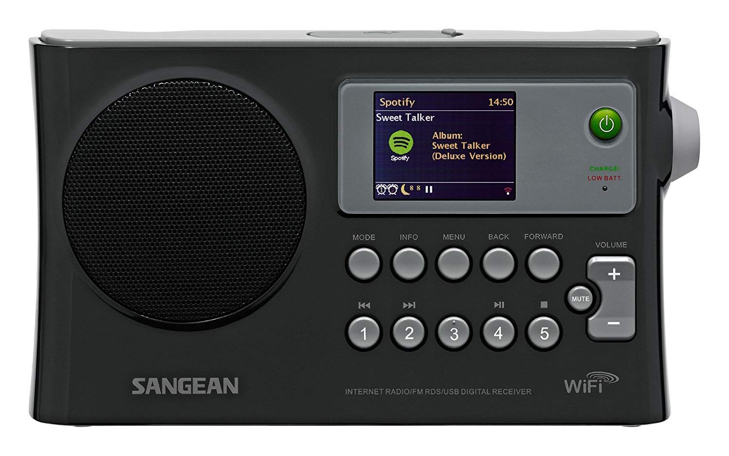 Sangean All in One Compact Portable Digital WiFi Internet Radio with Built-in Speaker, Earphone Jack, Dual Alarm Clock, Plus 6ft Aux Cable to Connect Any Ipod, Iphone or Mp3 Digital Audio Player