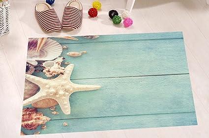 Superieur LB Seashell Print Bathroom Rugs Bath Mats Non Slip Rubber Backing Soft  Microfiber Surface, Seashell