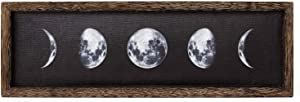 "Dahey Rustic Moon Phases Wall Decor Wooden Moon Sign Framed Full Growth Cycle of the Moon Wall Art Moon Wall Decor Hanging Free Standing For Modern Home Decor 17""×5.5"""