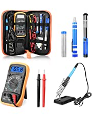 ETEPON Portable Soldering Iron Kit Adjustable Temperature with ON/Off Switch, Digital Multimeter, Soldering Stand, Desoldering Pump, Soldering Wire, 2pcs Soldering Tips (Kit 1)