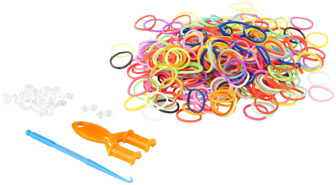 Playtastic Gummiringe: Gummibänder-Set, Nachfüllpack, 614 Teile (Loom Bänder) Nachfüllpack 614 Teile (Loom Bänder)