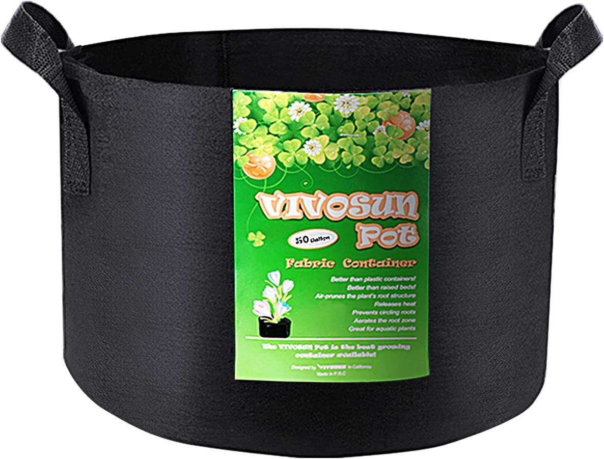 VIVOSUN 1 Pack 50 Gallon Grow Bag, Fabric Pot with Handles for Growing Vegtables and Plants