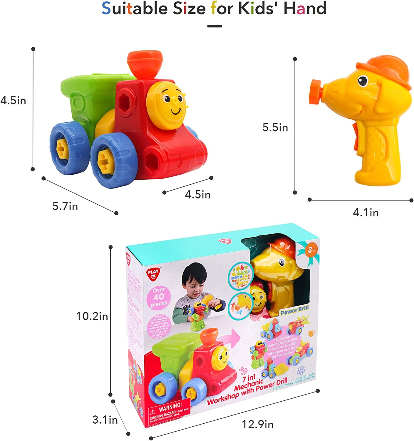 7 in 1 Take Apart Construction Vehicles Toys with Electric Drill for Toddlers STEM DIY Engineering Building PlaySet for Kids Age 3 4 5 Educational Toys Birthday for Boys Girls
