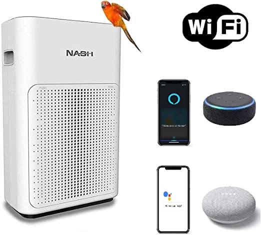 NASH purificador de aire inteligente WiFi, True H11 HEPA+ ...