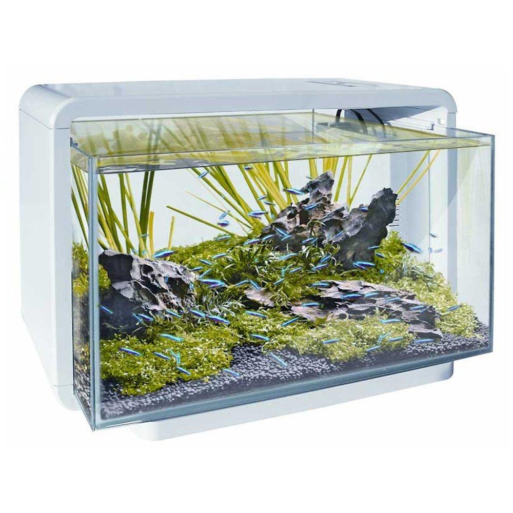 SuperFish-Acquario, 25 l, colore: bianco, con luci a LED e filtro interno