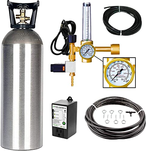 Grow Crew Hydroponic CO2 Enrichment Kit Includes 20 lb Aluminum CO2 Tank, Carbon Accelerator C02 Regulator, Atlas 7 CO2 PPM Monitor and Active Air Rain System to Shower Your Plants with CO2