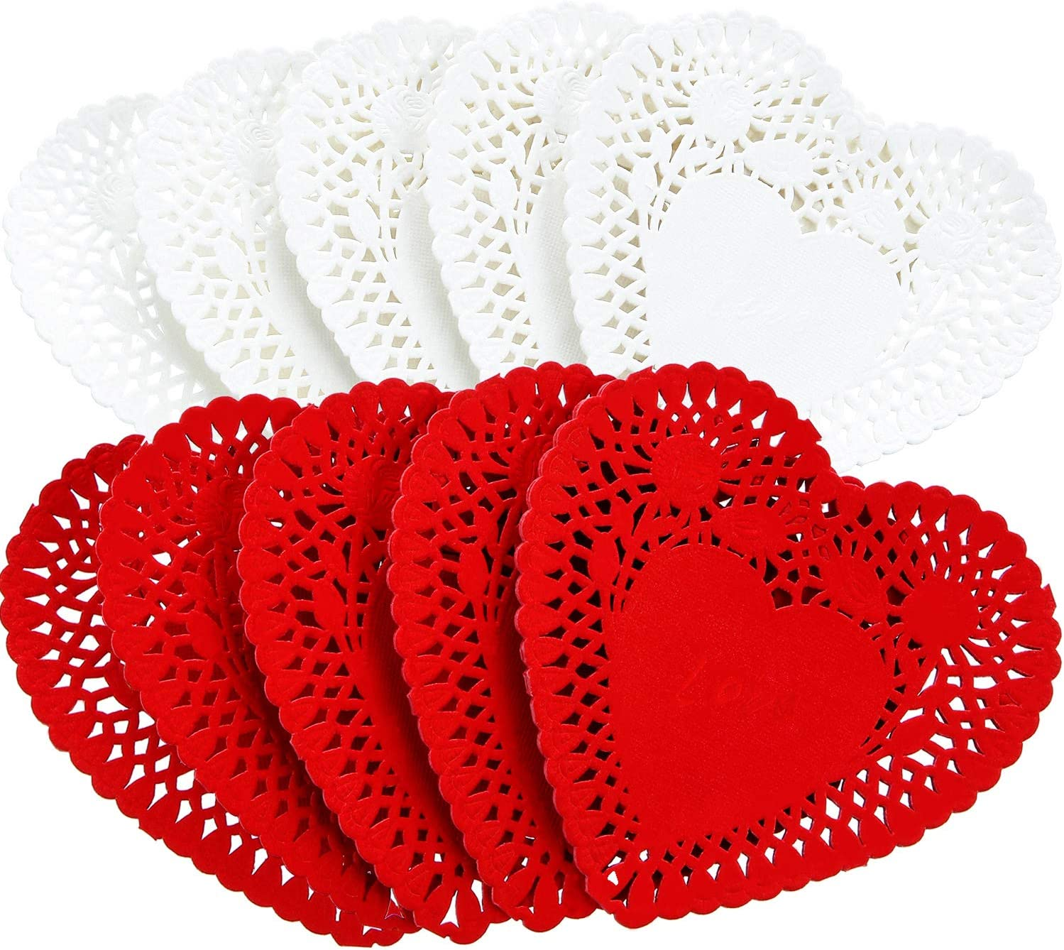 Mini Valentine's Heart Doilies Lace Paper Doilies for Wedding Decoration Valentine's Day Party Decor (400, White, Red)