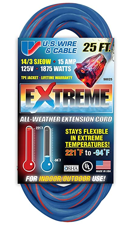 Amazon.com: US Wire 98025 14/3 25-Foot SJEOW TPE Cold Weather ...