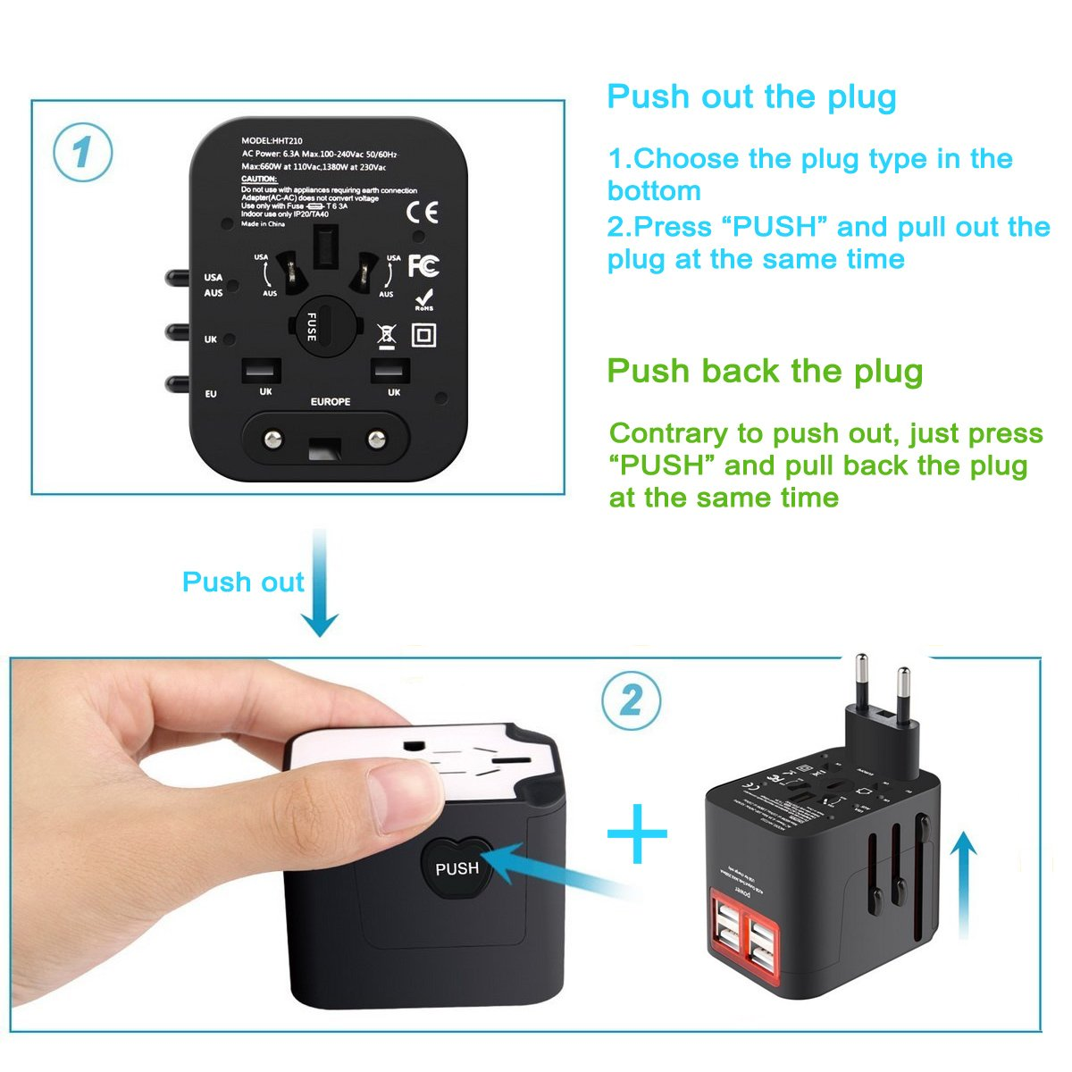 International Travel Adapter, Worldwide Travel Charger with 4 USB Ports Power Converters for EU, UK, US, USA, AU, Europe & Asia, All-in-one Universal Wall Plug Multi-Outlets Electrical Adaptor - Black by YIVIEW (Image #3)