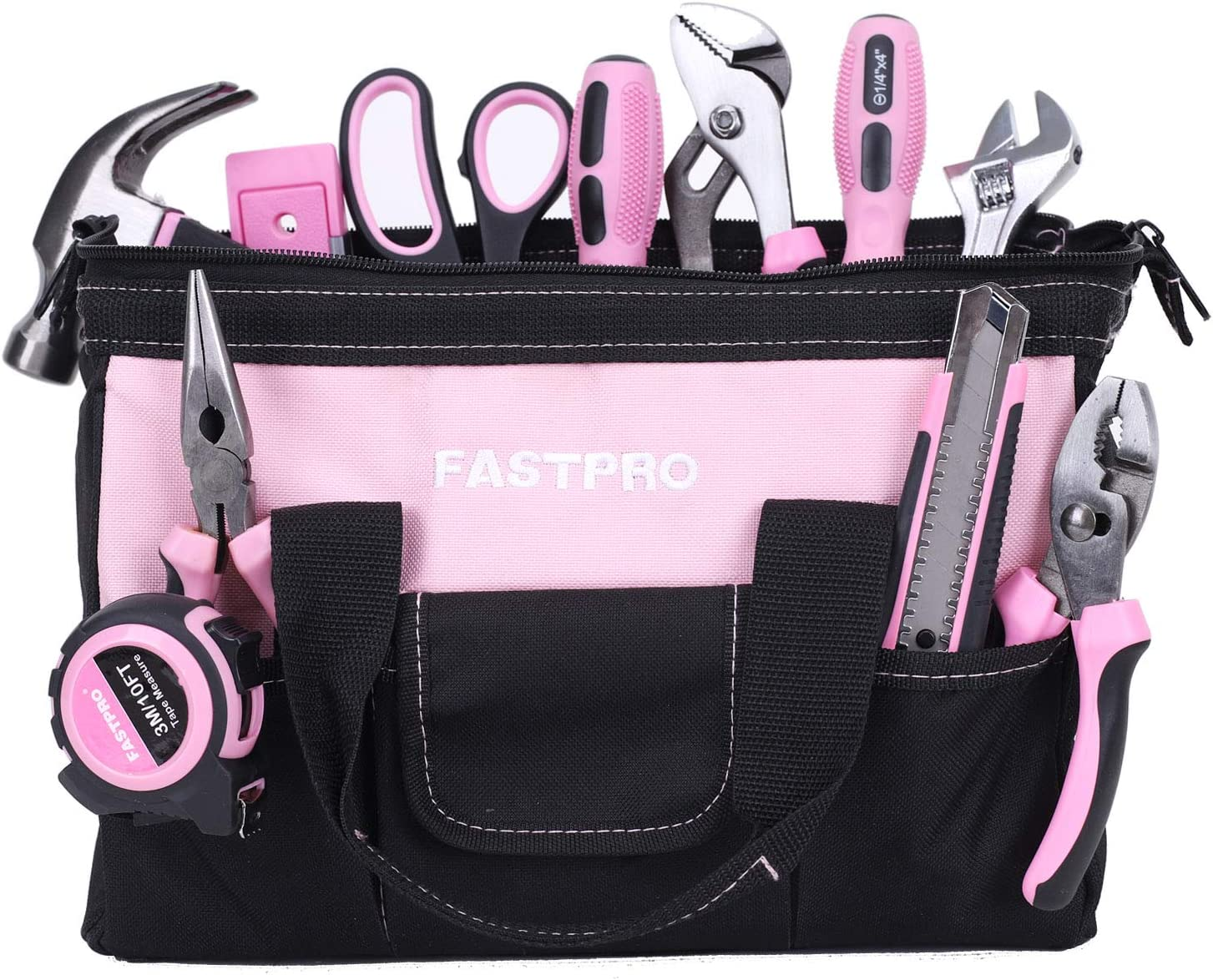 FASTPRO Pink Tool Set, 220-Piece Lady's Home Repairing Tool Kit with 12-Inch Wide Mouth Open Storage Tool Bag - -
