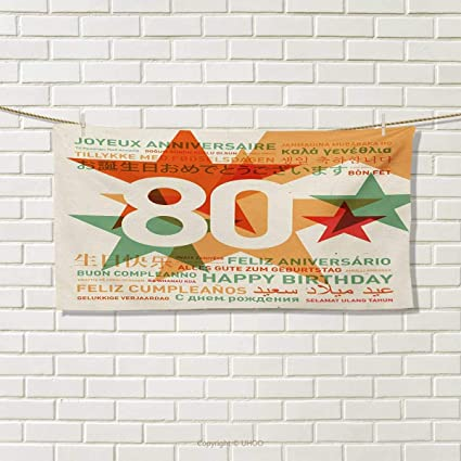 Chaneyhouse 80th BirthdayTravel Towel80 Years Old Party With Universal Happy Birthday Best