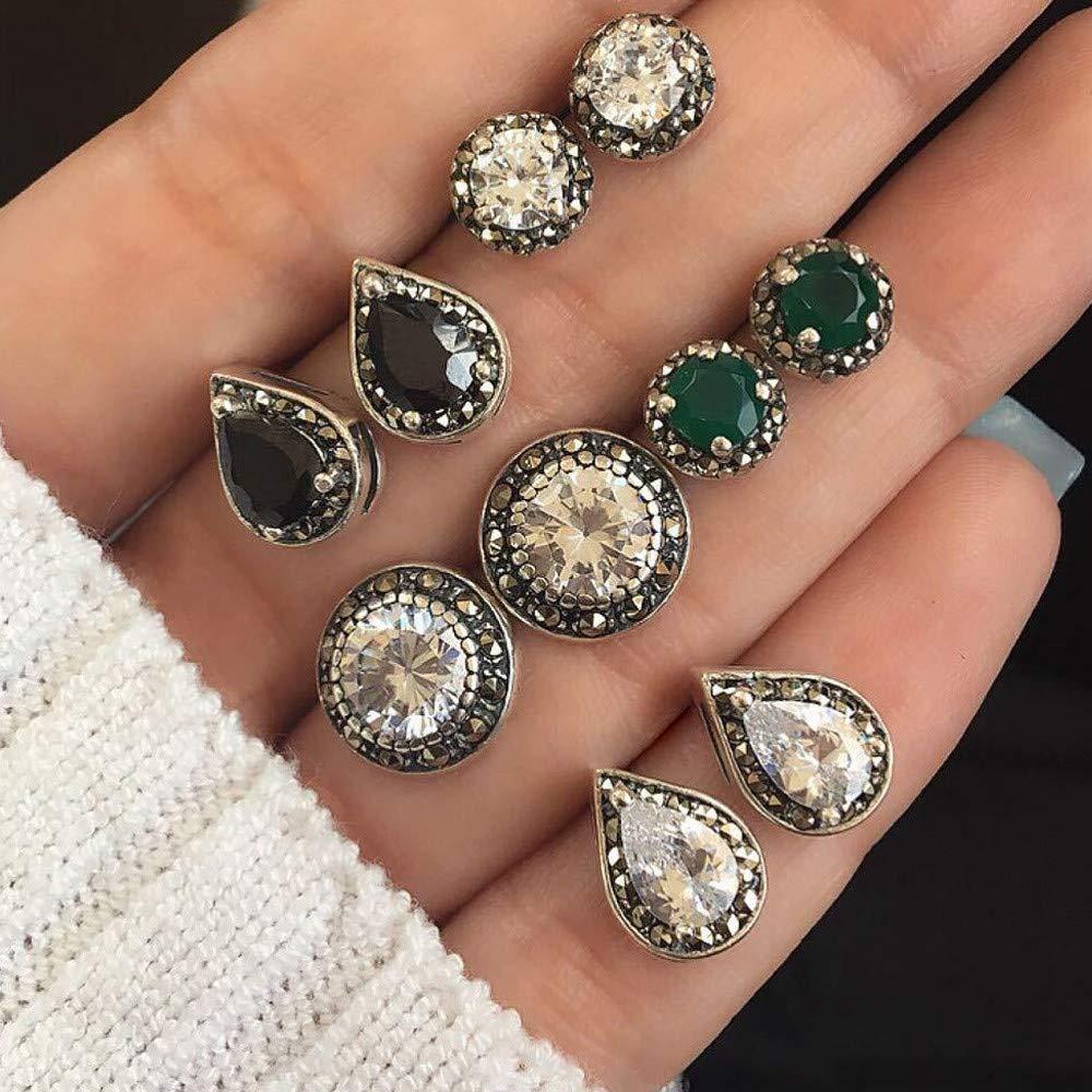 5 Pairs Stainless Steel Round Stud Earrings for Men Women Ear Piercing Earrings Cubic Zirconia Inlaid,Elegant Tassel Earrings Ear Stud Jewelry Gift Set (As Shown)