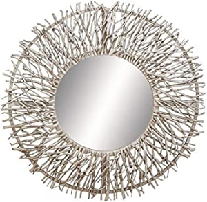 """Deco 79 Contemporary Metal and Wood Round Framed Branch Design Wall Mirror, 31""""Diameter, Textured Silver Finish"""