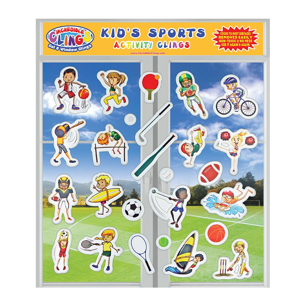 (Kid's Sports)Kids Sports (26pc) Incredible Gel and Window ClingsPuffy Reusable Stickers for ChildrenFootball, Golf, Basketball, Baseball, Soccer & MoreGreat Home or Travel Activity on Planes or Cars B073HFWWJ8  Kids Sports