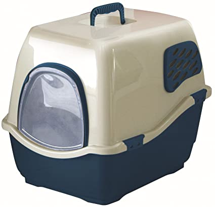 image covered cat litter. Marchioro Bill 2F Covered Cat Litter Pan With Filter, Medium/Large, Tan/ Image