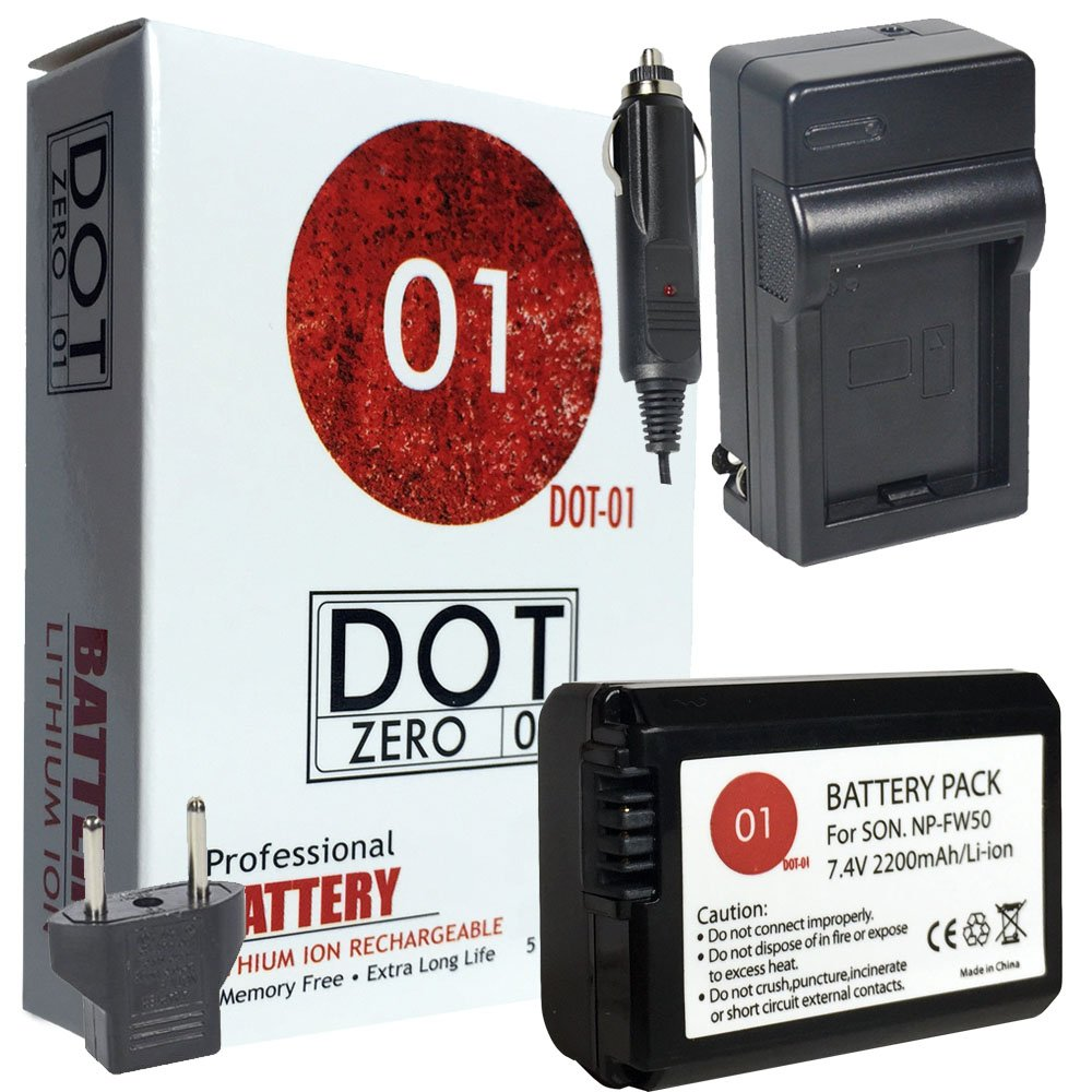 DOT-01 Brand Sony Alpha A5000 Battery and Charger for Sony Alpha A5000 DSLR and Sony A5000 Battery and Charger Bundle for Sony FW50 NP-FW50