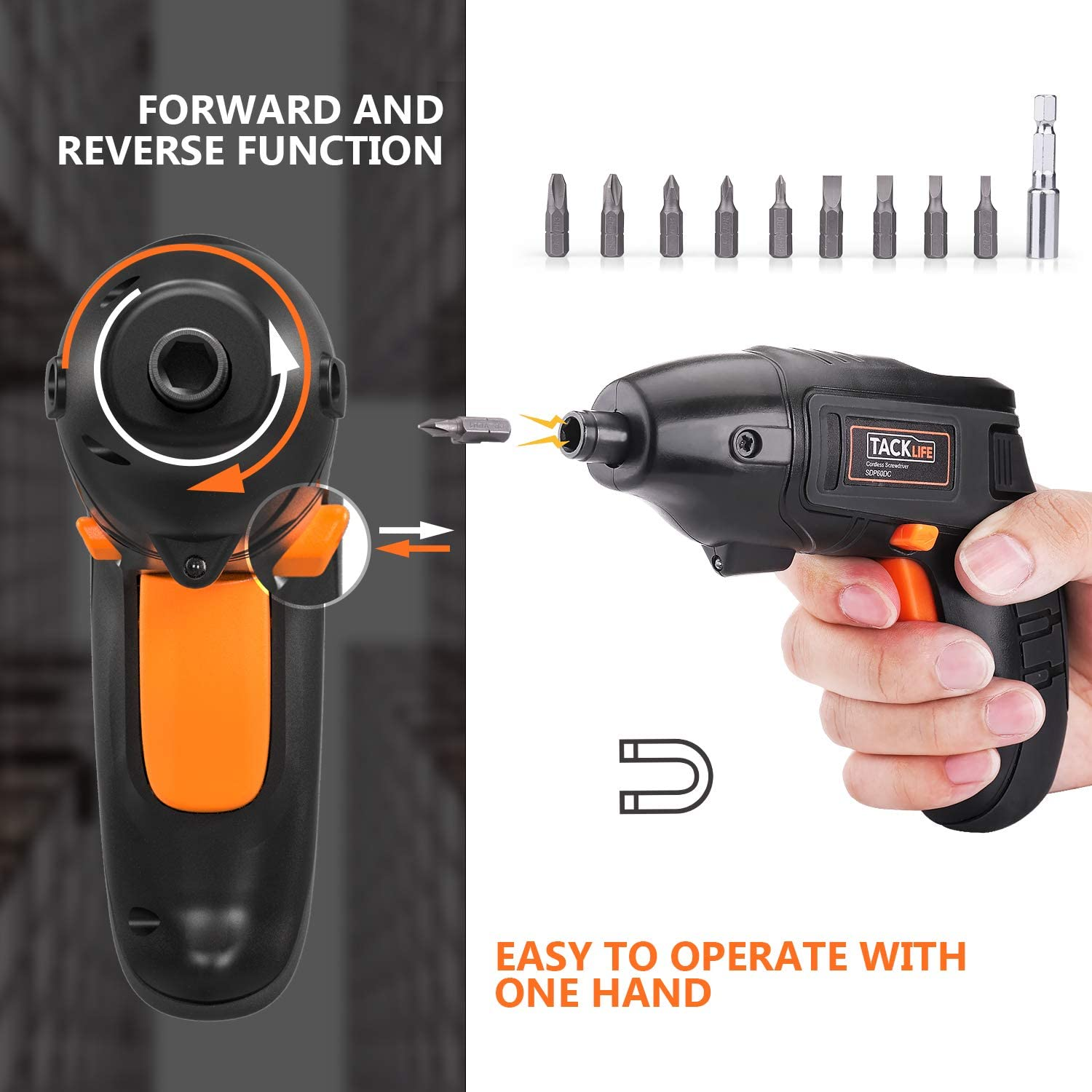Electric Screwdriver Front LED Light-SDP60DC Tacklife Cordless Screwdriver Rechargeable 1500 mAh Li-on Battery with 10 Pcs Bonus Screw Bits for Home DIY and Fit for Ladies Newbies and Experienced