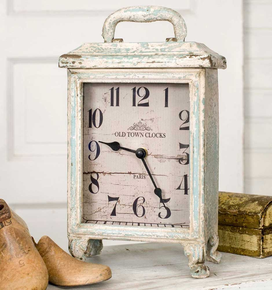 Carriage Clock Rustic in Distressed Tin, Stands 11 Inches Tall, Battery by Carriage Clock