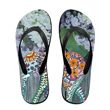 Unisex Non-slip Flip Flops Flowers Elephant Cool Beach Slippers Sandal