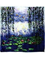 Dahlia Women's 100% Luxury Square Silk Scarf - Claude Monet's Paintings
