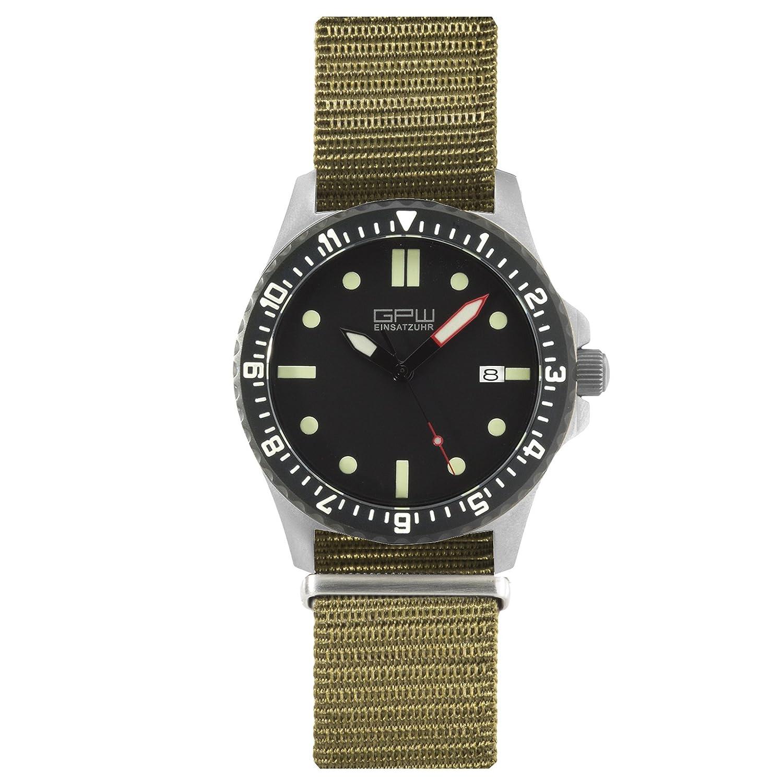 Amazon.com: German Military Titanium Automatic Watch. GPW Date. 200M W/R. Sapphire Crystal. Olive Nylon Strap.: Watches