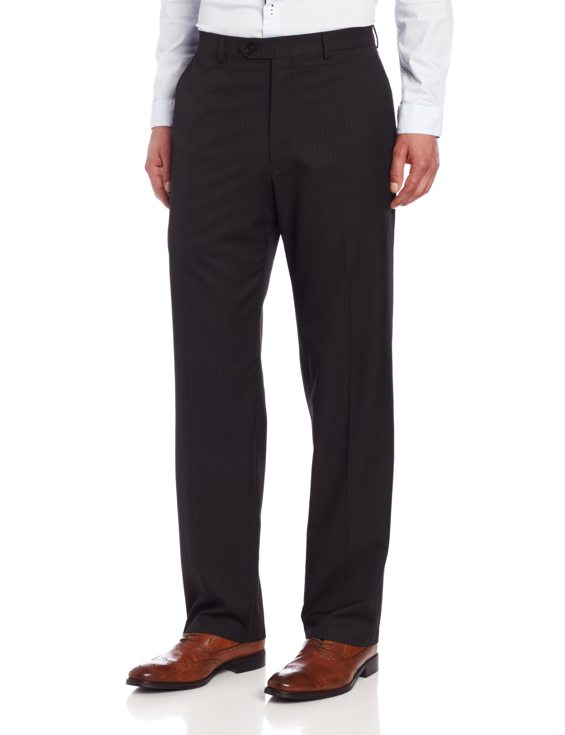 Haggar Mens Multi Bead Stripe Plain Front Suit Pant, Black, 32/32