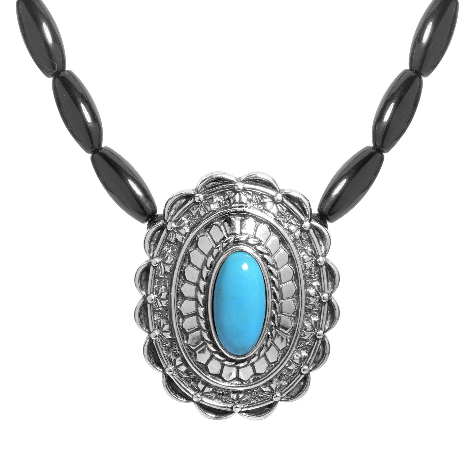 .925 Sterling Silver Turquoise Medal Necklace on Black Agate Necklace