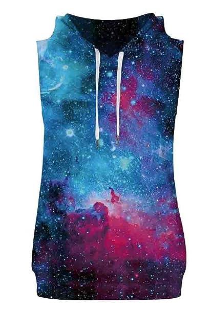 hop fashion unisex sleeveless galaxy theme print hoodie vest shirts